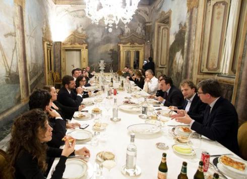 Italian Prime Minister Matteo Renzi meets former British Prime Minister Toni Blair