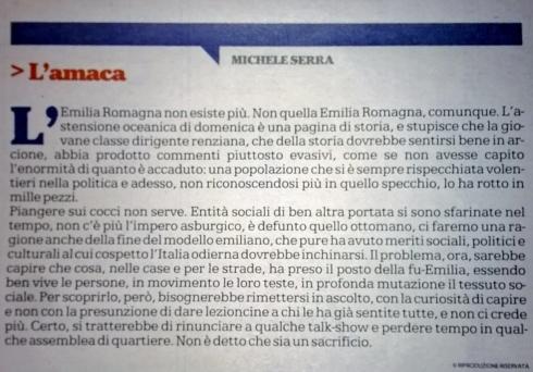 Michele Serra, oggi su La Repubblica.